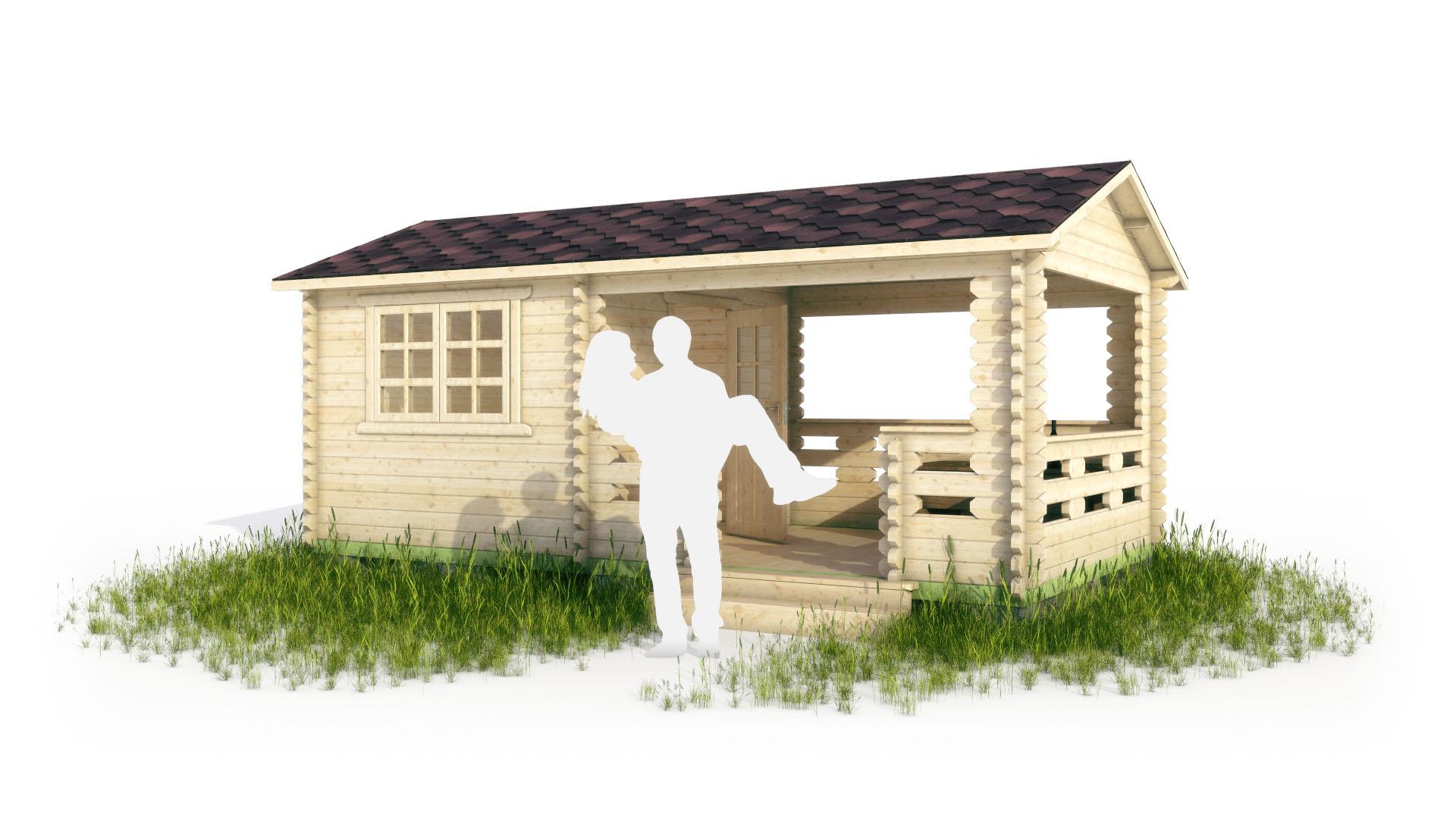 Садовый домик с верандой в 3d