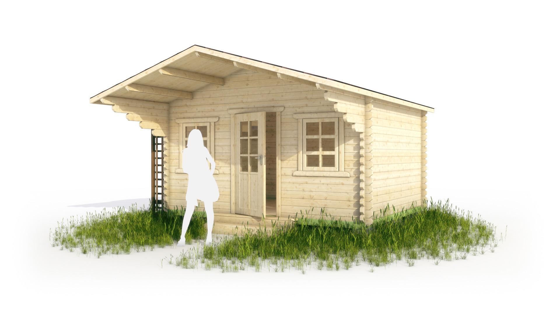 Садовый домик с навесом в 3d