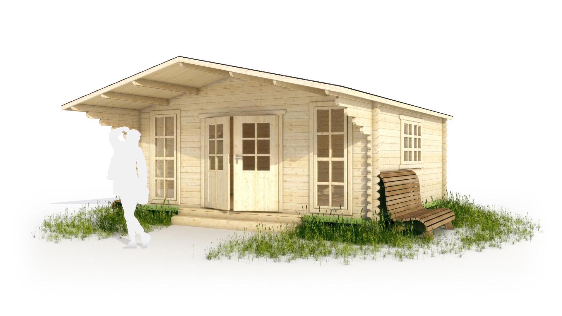 Дачный дом с навесом в 3d