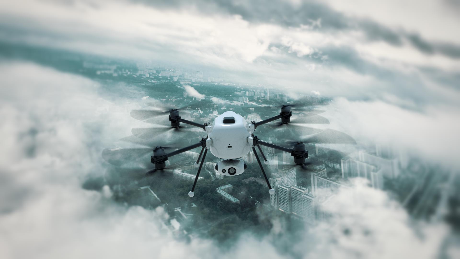 Квадрокоптер Вяхирь (кадр из 3д-анимации)