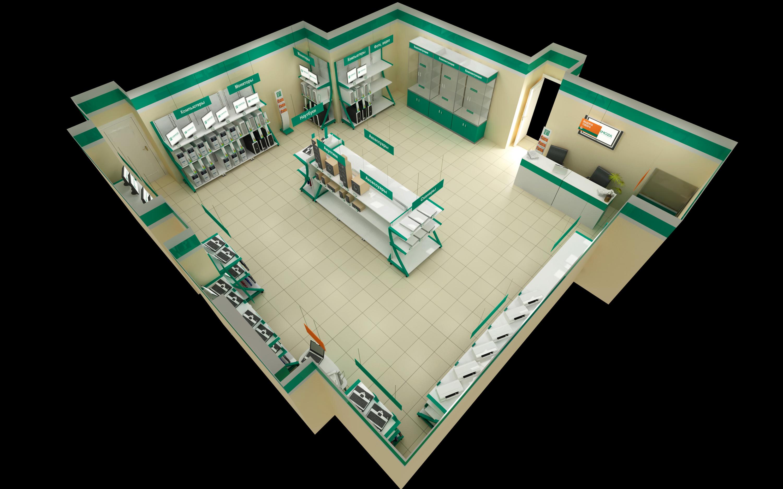 Визуализация магазина 95 кв. м