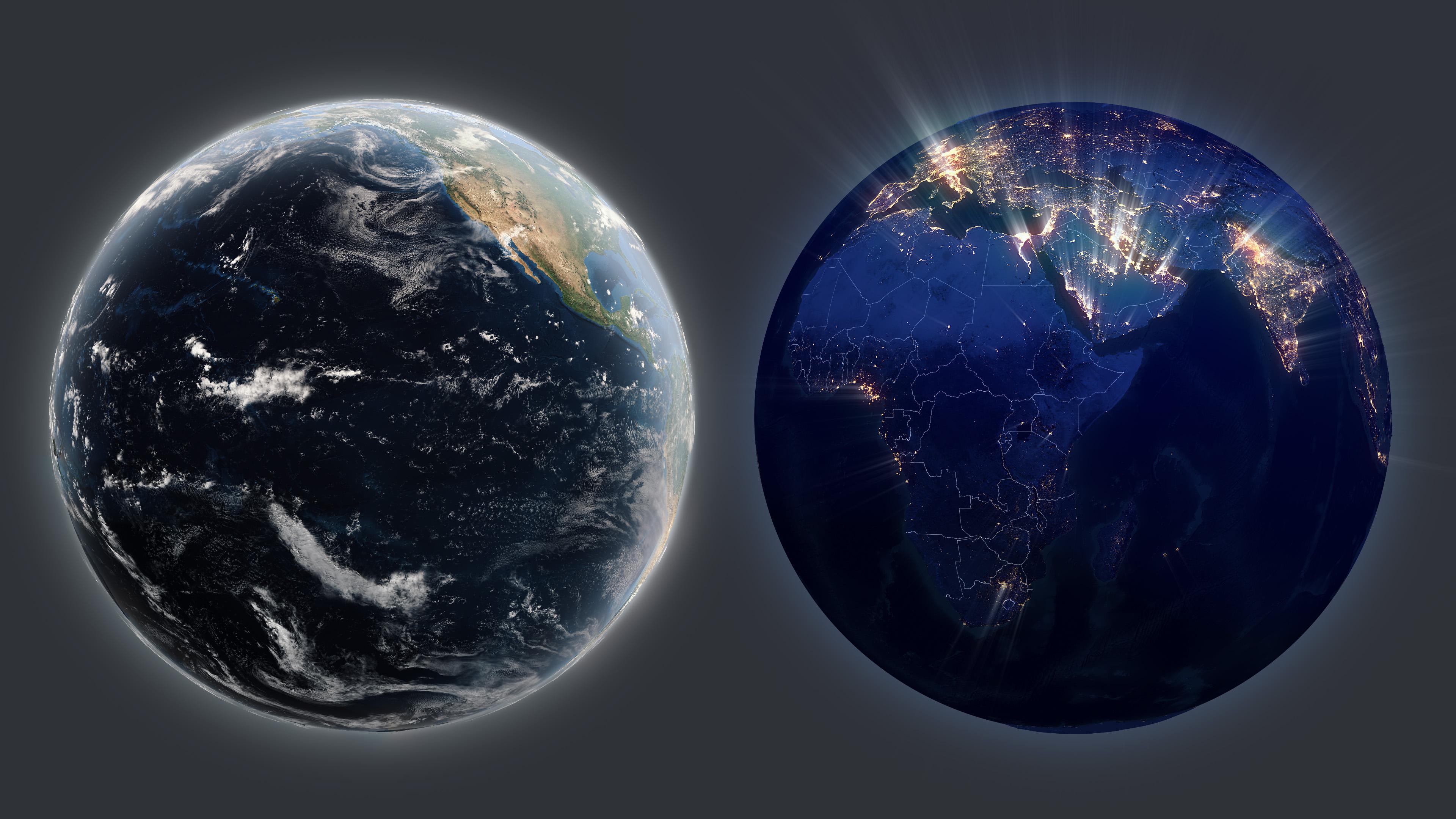 3d-карта Земли, день и ночь