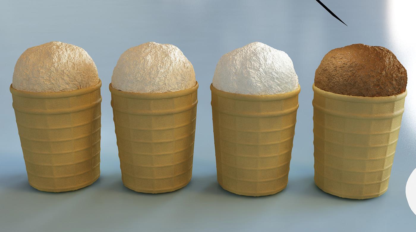 3d-визуализация: Мороженое в стаканчиках
