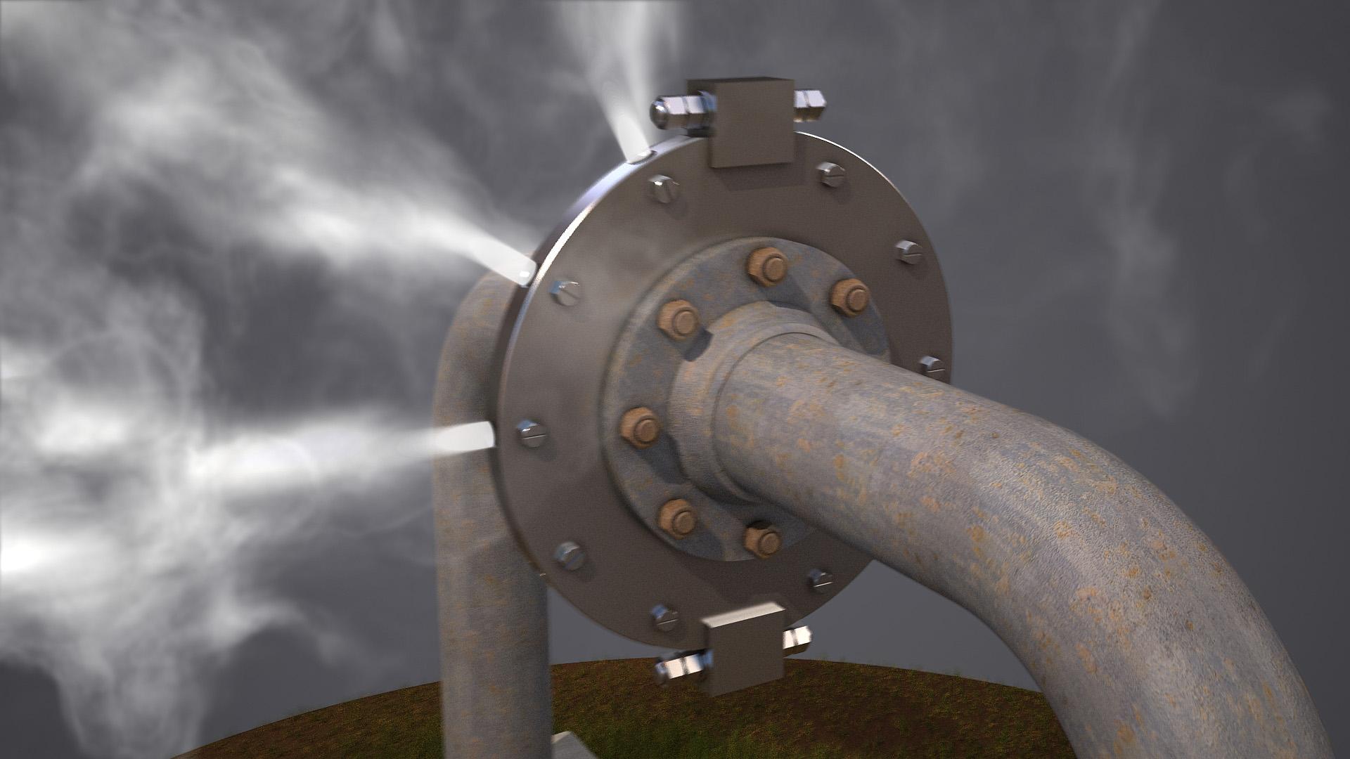 Техническая 3d-анимация. Визуализация пара высокого давления.