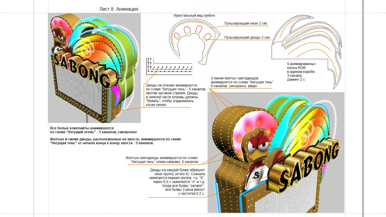 Анимация, неона и диодов при передачи в производство