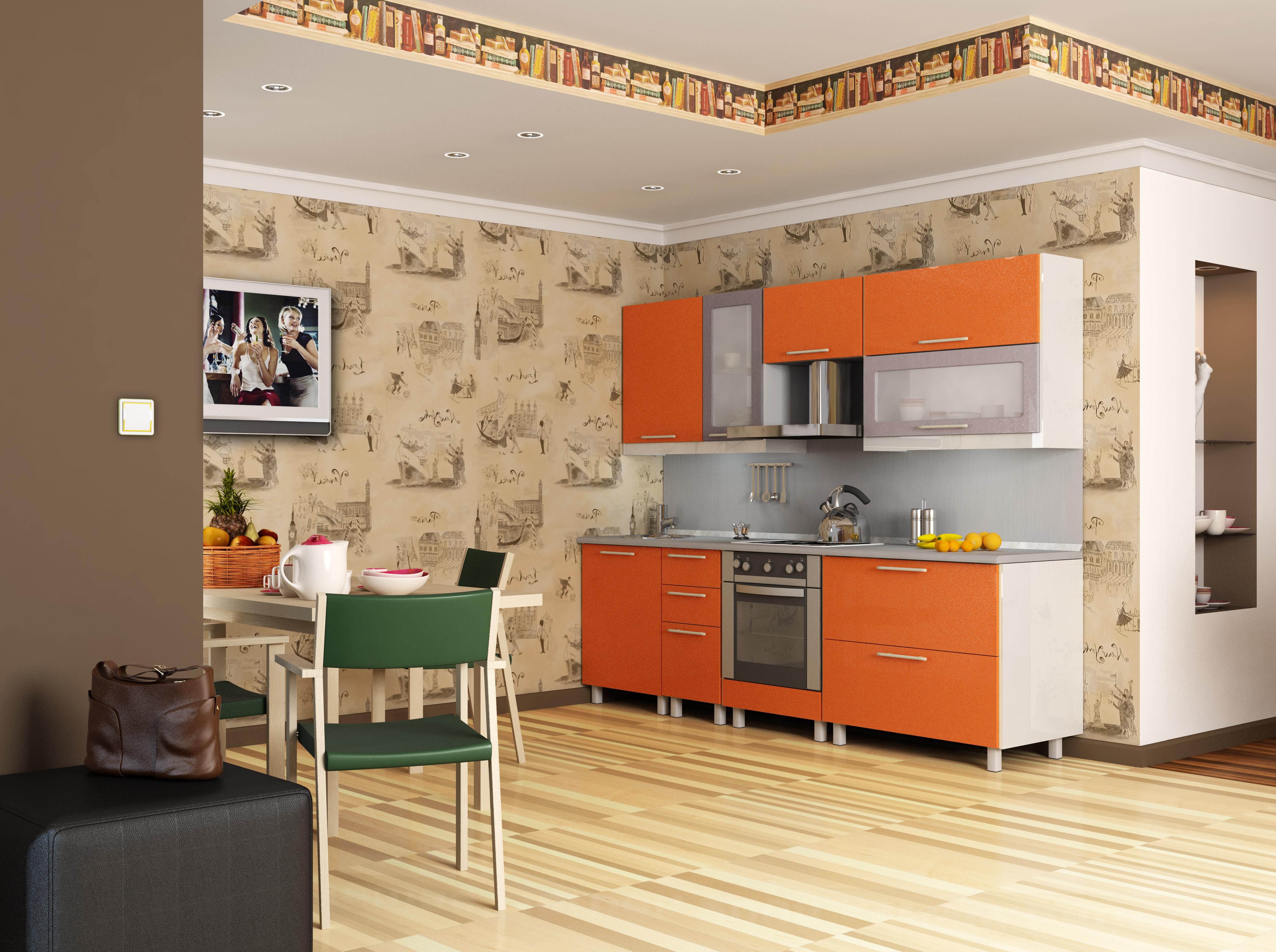 Кухня морковные фасады, белые торцы