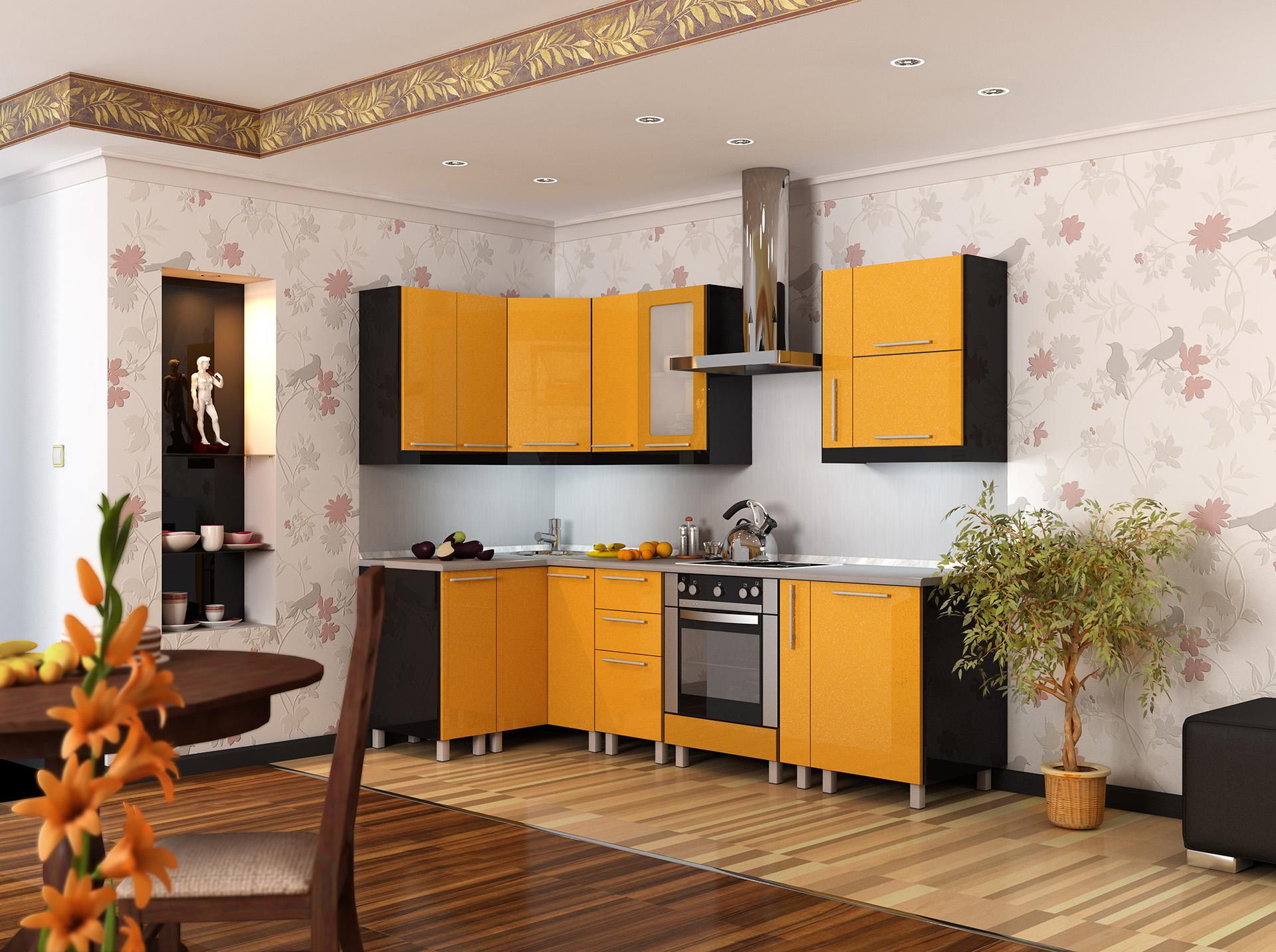 Кухня оранжевые фасады, черные торцы