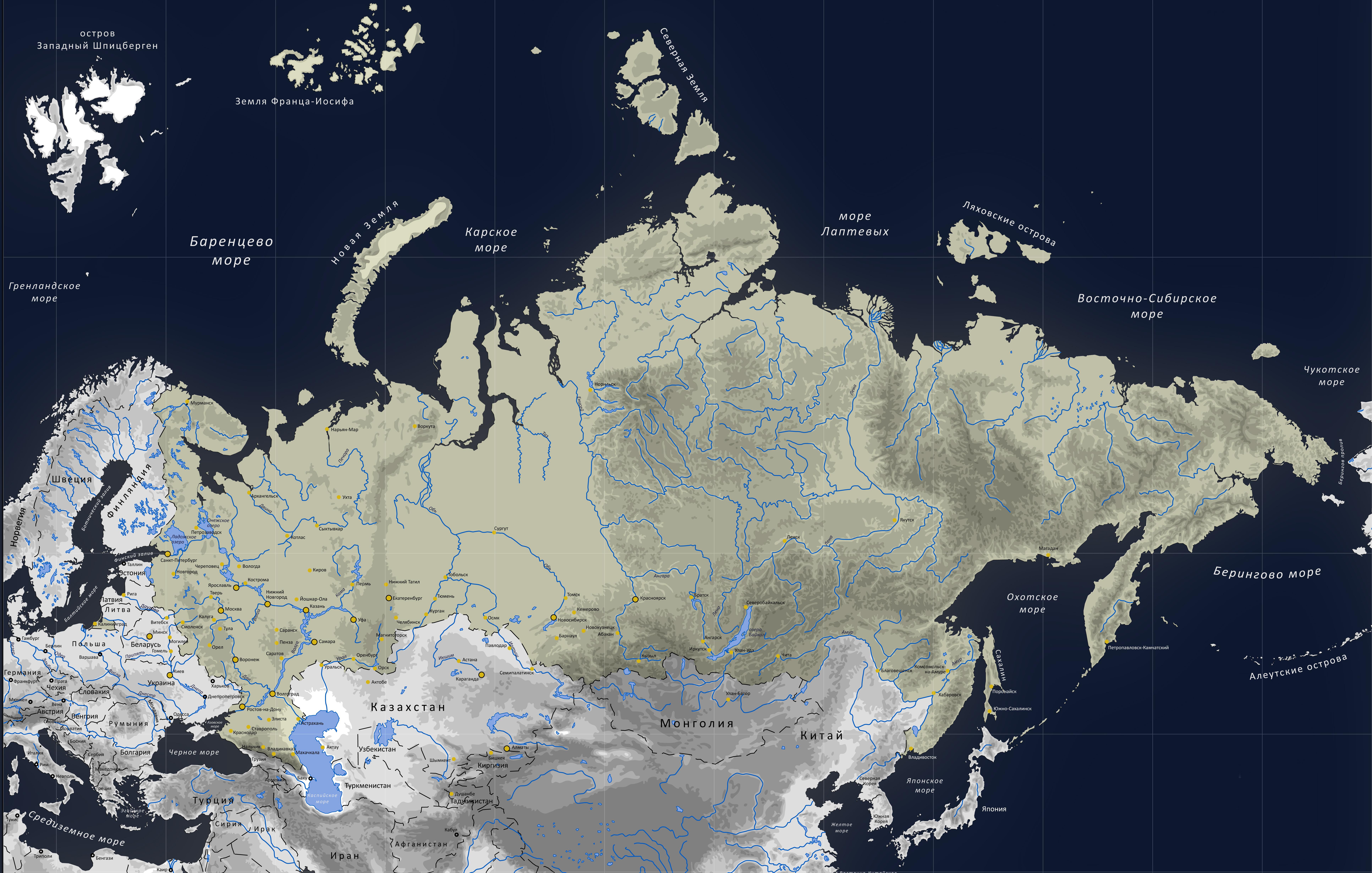 Карта России для печати (плоская)