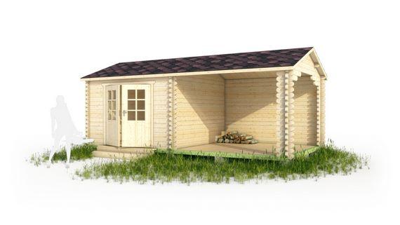 Садовый домик с дровницей в 3d