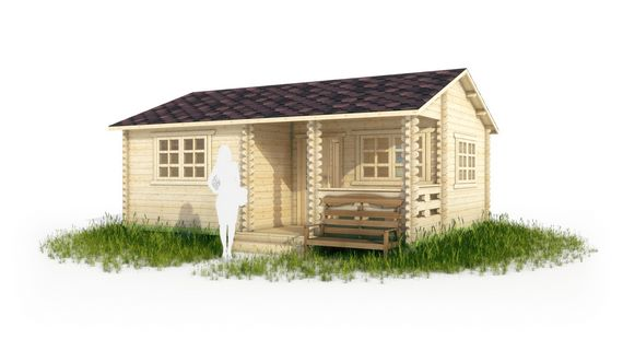 Дачный дом с верандой в 3d