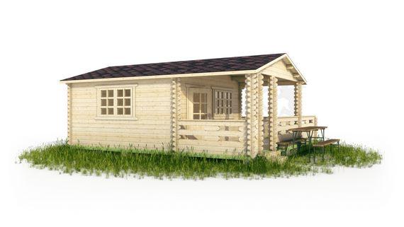 Дачный дом с верандой и террасой в 3d