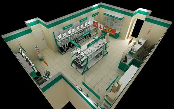 Визуализация магазина 55 кв. м