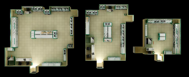 3d-визуализация 33, 55 и 95 кв. м