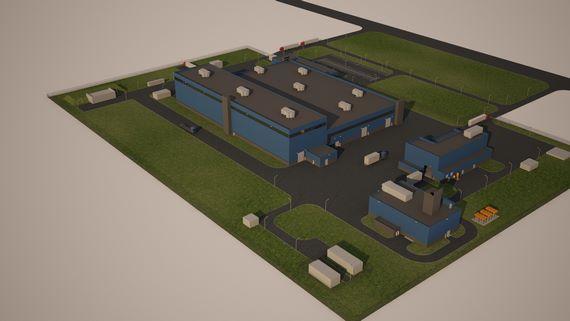 3d-анимация облета завода, вариант покраски