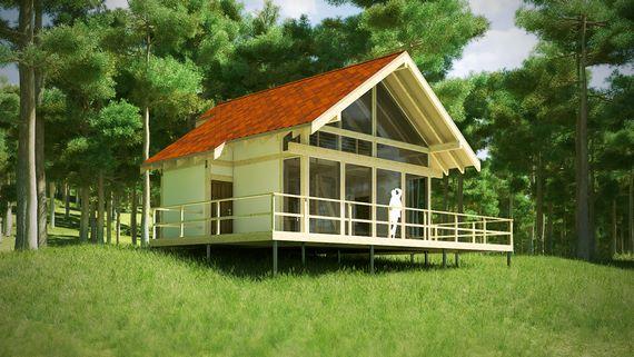 3д-визуализация дома Полар, зеленый вариант