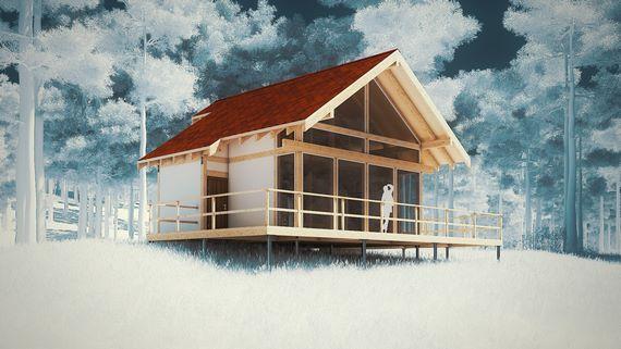 3д-визуализация дома Полар, белый вариант