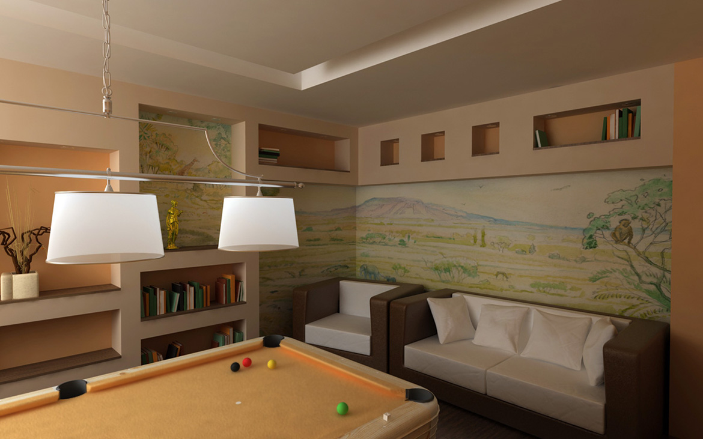 Визуализация комнаты отдыха. Бильярдная