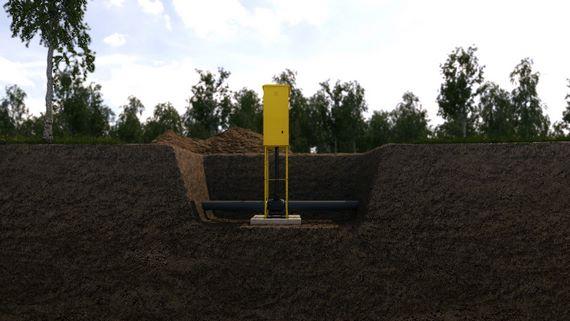 Замонтированная установка в разрезе грунта