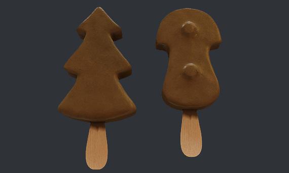 Мороженое Елочка и Грибочек - 3d-визуализация