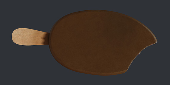 Откусанное мороженое. Общий вид - 3d-визуализация